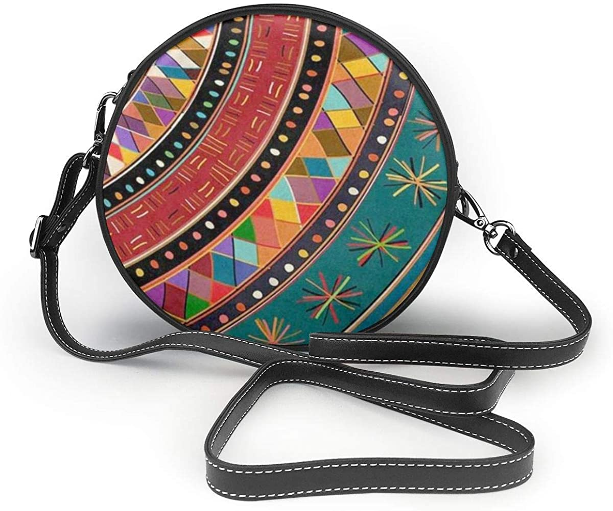 Tribal Ethnic Aztec Bohemia Leather Crossbody Round Bag Colorful Single Shoulder Messenger Handbags For Women Girls  Handbags