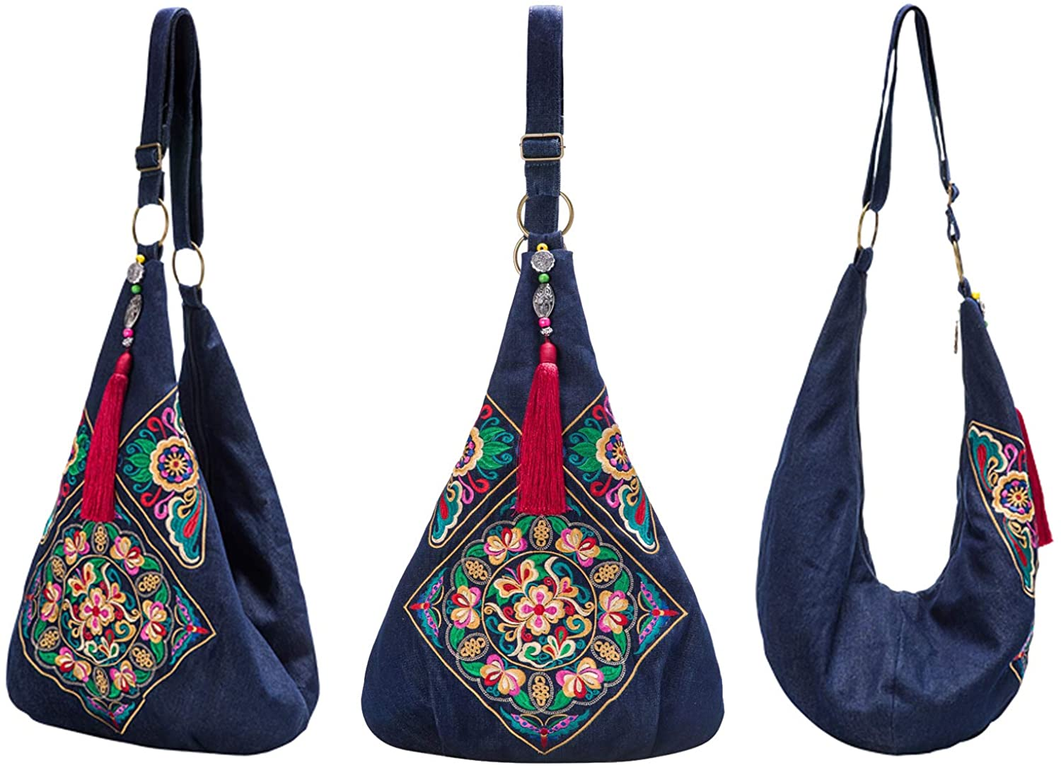 Women Crossbody Bag Fashion Hobo Shoulder Bags Casual Cross Body Denim Handmade Sling Bags,Heavy Embroidery Messenger Bag  Clothing