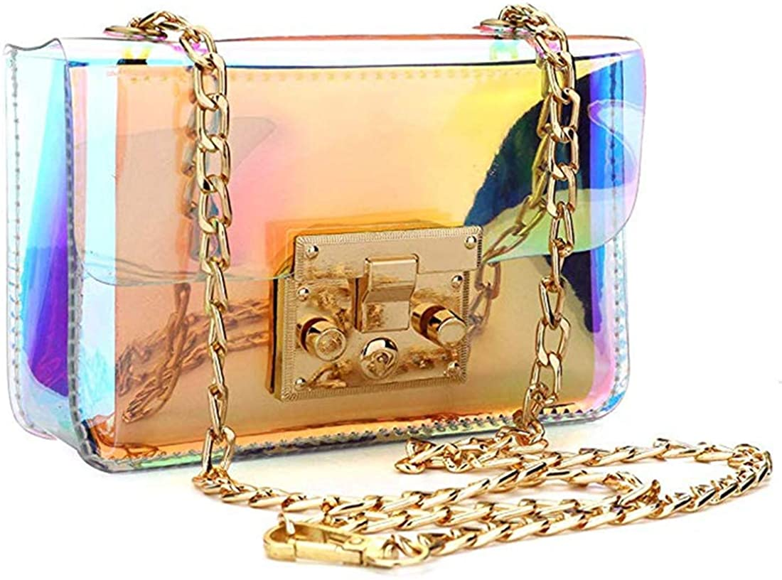 Holographic Clear Purse Crossover Shoulder Messenger Bag Laser Sling Purse with Golden Chain (Medium)  Handbags