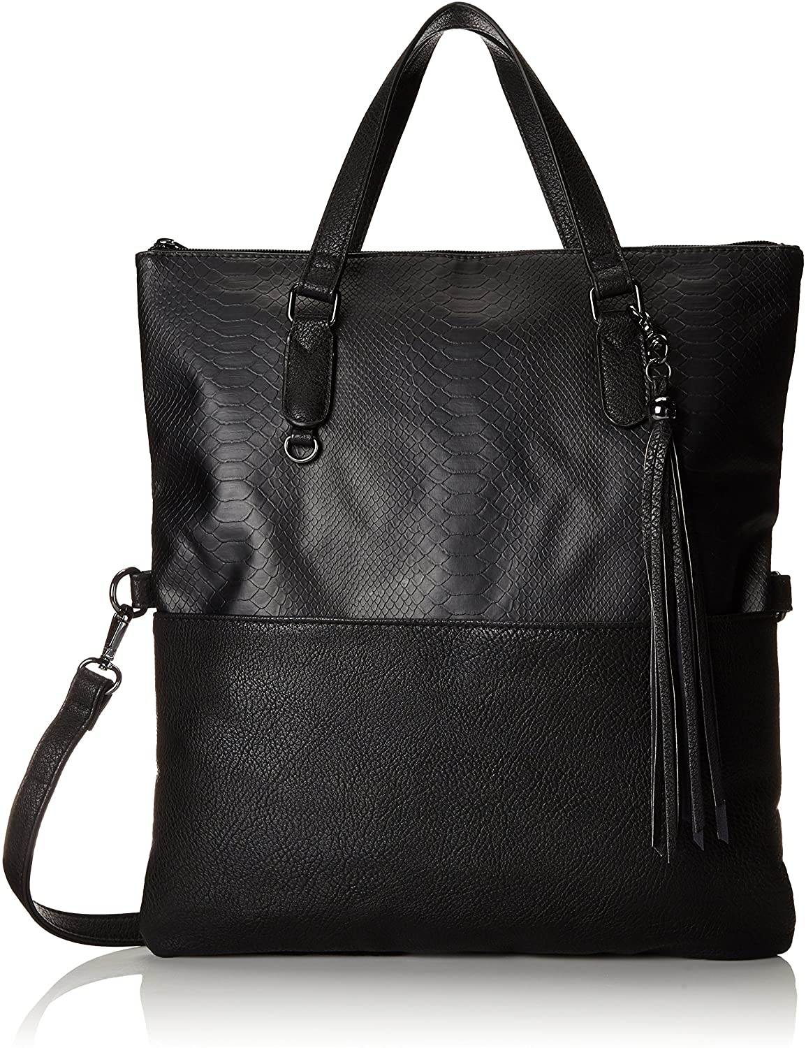 POVERTY FLATS by rian Reptilian Moderna Foldover Tote, Black, One Size  Clothing