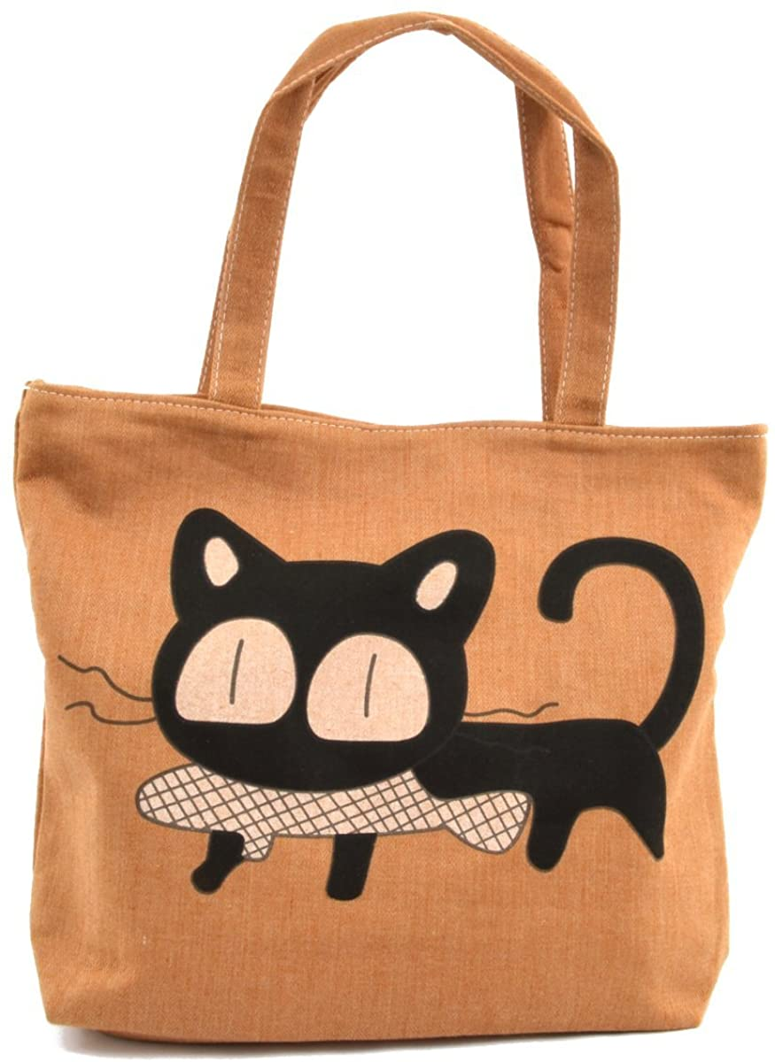 LSW Cat with Fish Canvas Tote Bag (Beige)  Clothing