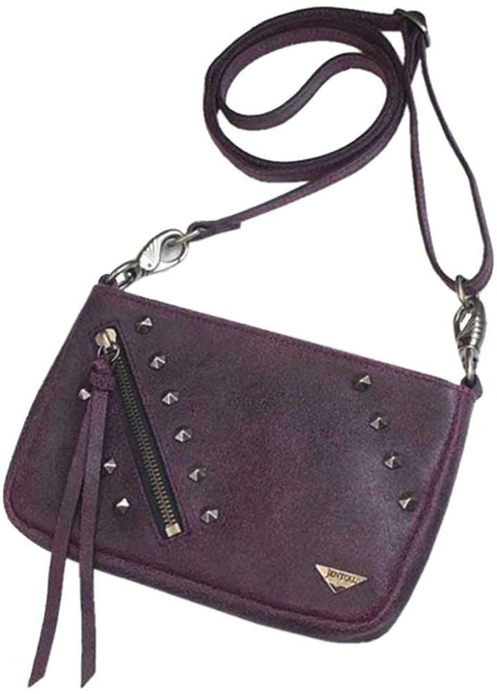Pink Leather Stone Washed Convertible Cross body and Waist Bag  JENTOU  Clothing