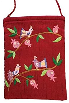 Yair Emanuel Birds and Pomegranate Design Maroon Embroidered Bag  Clothing
