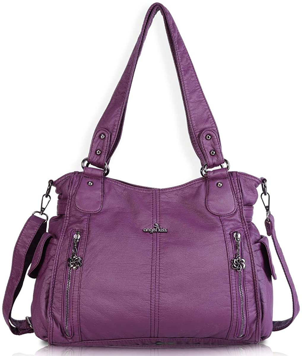 Women Handbags Shoulder Bags Washed Leather Satchel Tote Bag Mutipocket Purse (1193-2 Purple)  Clothing